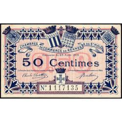 Rennes et Saint-Malo - Pirot 105-6 - 50 centimes - Sans série - 25/08/1915 - Etat : SUP+