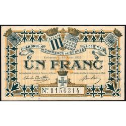 Rennes et Saint-Malo - Pirot 105-7 - 1 franc - Sans série - 25/08/1915 - Etat : TTB+ à SUP