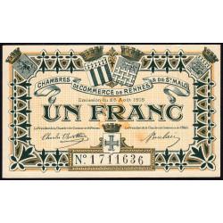 Rennes et Saint-Malo - Pirot 105-7 - 1 franc - Sans série - 25/08/1915 - Etat : SPL