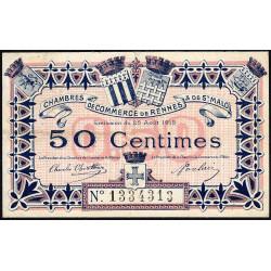 Rennes et Saint-Malo - Pirot 105-8 - 50 centimes - Sans série - 25/08/1915 - Etat : TTB