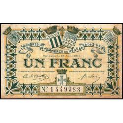 Rennes et Saint-Malo - Pirot 105-9 - 1 franc - Sans série - 25/08/1915 - Etat : TB
