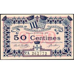 Rennes et Saint-Malo - Pirot 105-10 - 50 centimes - Série A - 25/08/1915 - Etat : SPL