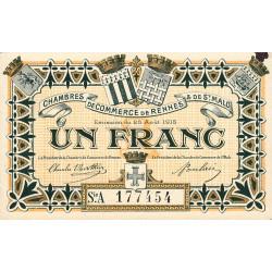 Rennes et Saint-Malo - Pirot 105-11 - 1 franc - Série A - 25/08/1915 - Etat : SUP+