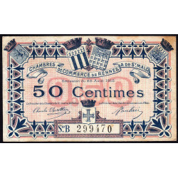 Rennes et Saint-Malo - Pirot 105-13 - 50 centimes - Série B - 25/08/1915 - Etat : TB+
