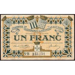 Rennes et Saint-Malo - Pirot 105-15 - 1 franc - Série B - 25/08/1915 - Etat : TB