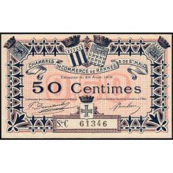 Rennes et Saint-Malo - Pirot 105-17 - 50 centimes - Série C - 25/08/1915 - Etat : SUP+ à SPL