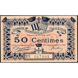 Rennes et Saint-Malo - Pirot 105-17 - 50 centimes - Série C - 25/08/1915 - Etat : SUP