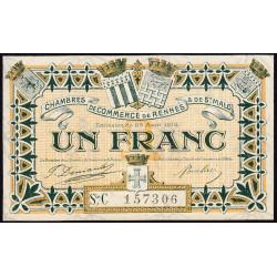 Rennes et Saint-Malo - Pirot 105-18 - 1 franc - Série C - 25/08/1915 - Etat : SPL