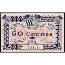 Rennes et Saint-Malo - Pirot 105-19 - 50 centimes - Série D - 15/07/1921 - Etat : SPL