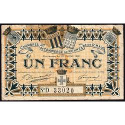 Rennes et Saint-Malo - Pirot 105-20 - 1 franc - Série D - 15/07/1921 - Etat : B+