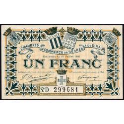 Rennes et Saint-Malo - Pirot 105-20 - 1 franc - Série D - 15/07/1921 - Etat : SPL