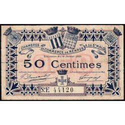 Rennes et Saint-Malo - Pirot 105-21 - 50 centimes - Série E - 14/01/1922 - Etat : TB