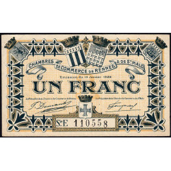 Rennes et Saint-Malo - Pirot 105-22 - 1 franc - Série E - 14/01/1922 - Etat : TTB