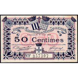 Rennes et Saint-Malo - Pirot 105-23 - 50 centimes - Série F - 06/04/1922 - Etat : SUP+