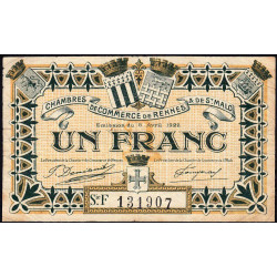 Rennes et Saint-Malo - Pirot 105-24 - 1 franc - Série F - 06/04/1922 - Etat : TB