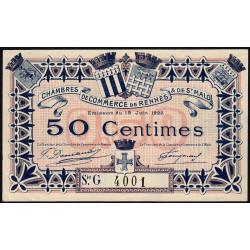 Rennes et Saint-Malo - Pirot 105-25 - 50 centimes - Série G - 19/06/1922 - Etat : SUP+ à SPL