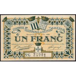 Rennes et Saint-Malo - Pirot 105-26 - 1 franc - Série G - 19/06/1922 - Etat : SPL