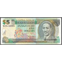 Barbade - Pick 61 - 5 dollars - 2000 - Etat : TTB-