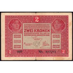 Autriche - Pick 21 - 2 kronen - 01/03/1917 - Etat : TB