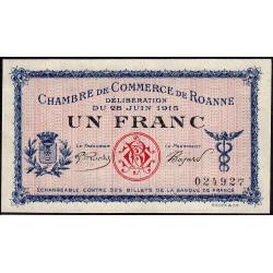 Roanne - Pirot 106-2a - 1 franc - Sans série - 28/06/1915 - Etat : SPL