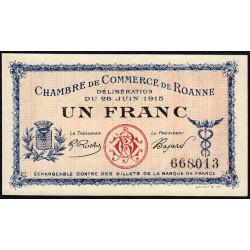 Roanne - Pirot 106-2b - 1 franc - Sans série - 28/06/1915 - Etat : NEUF