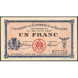 Roanne - Pirot 106-2b - 1 franc - Sans série - 28/06/1915 - Etat : SUP+