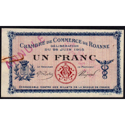 Roanne - Pirot 106-3 - 1 franc - 28/06/1915 - Annulé - Etat : TTB+
