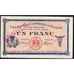 Roanne - Pirot 106-3 - 1 franc - 28/06/1915 - Annulé - Etat : SPL+