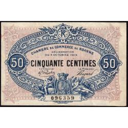 Roanne - Pirot 106-5 - 50 centimes - 04/10/1915 - Etat : TTB
