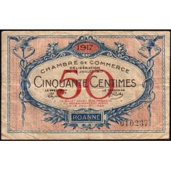 Roanne - Pirot 106-9 - 50 centimes - Sans série - 18/07/1917 - Etat : TB-