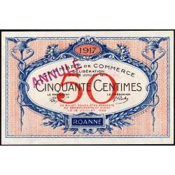 Roanne - Pirot 106-10 - 50 centimes - 18/07/1917 - Annulé - Etat : NEUF