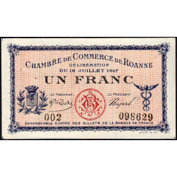 Roanne - Pirot 106-12 - 1 franc - Série 002 - 18/07/1917 - Etat : SPL+