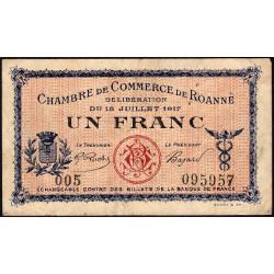 Roanne - Pirot 106-12 - 1 franc - Série 005 - 18/07/1917 - Etat : TB-