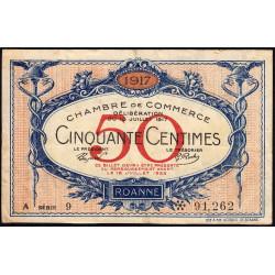 Roanne - Pirot 106-15 - 50 centimes - Série A 9 - 18/07/1917 - Etat : TB+
