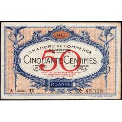 Roanne - Pirot 106-15 - 50 centimes - Série A 15 - 18/07/1917 - Etat : TTB