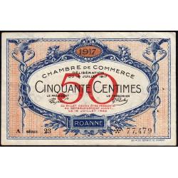 Roanne - Pirot 106-15 - 50 centimes - Série A 23 - 18/07/1917 - Etat : TTB
