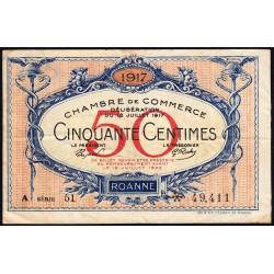 Roanne - Pirot 106-15 - 50 centimes - Série A 51 - 18/07/1917 - Etat : TB+