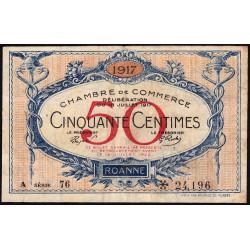 Roanne - Pirot 106-15 - 50 centimes - Série A 76 - 18/07/1917 - Etat : TB