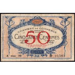 Roanne - Pirot 106-15 - 50 centimes - Série A 90 - 18/07/1917 - Etat : TB