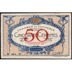 Roanne - Pirot 106-16 - 50 centimes - Série B 57 - 18/07/1917 - Etat : TTB-