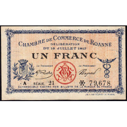 Roanne - Pirot 106-17 - 1 franc - Série A 21 - 18/07/1917 - Etat : TTB+