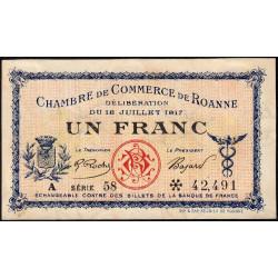 Roanne - Pirot 106-17 - 1 franc - Série A 58 - 18/07/1917 - Etat : SUP