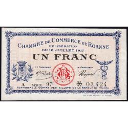 Roanne - Pirot 106-17 - 1 franc - Série A 97 - 18/07/1917 - Etat : SPL