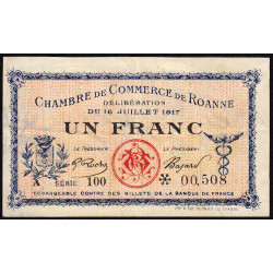 Roanne - Pirot 106-17 - 1 franc - Série 100 - 18/07/1917 - Etat : TTB+