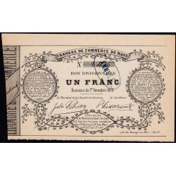 Le Mans - Chambre de Commerce - Jer 72.01A - 1 franc - 01/12/1870 - Etat : SUP+