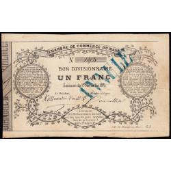 Le Mans - Chambre de Commerce - Jer 72.01C - 1 franc - 01/11/1871 - Etat : TB+