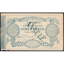 Le Mans - Chambre de Commerce - Jer 72.01D - 5 francs - 01/11/1871 - Etat : TTB