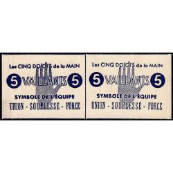 Paire de billets de 5 vaillants - 1ère série /C - 1943 - Etat : pr.NEUF