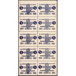 Feuille de 10 billets de 5 vaillants - 1ère série /C - 1943 - Etat : pr.NEUF