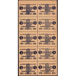 Feuille de 10 billets de 5 vaillants - 1ère série /C - 1943 - Etat : SUP